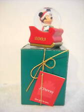 RARE JC PENNEY 2003 SNOWGLOBE MICKEY ON SLED
