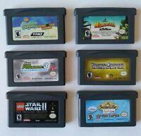 GBA 6 Game Lot - Spongebob, Lego Star Wars II, Nintendo Game Boy Advance, Tested