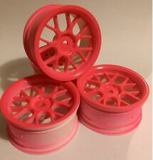 Rc Car 1/10 Drift Y Spoke Rims Wheels 3mm Offset fits Tamiya HPI PINK 12mm hex