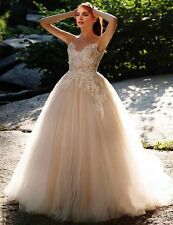 Champagne Pink Blush A-Line Lace Applique Tulle Wedding Dress Empire Bridal Gown