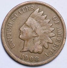 1908 INDIAN HEAD CENT PENNY / CIRCULATED GRADE GOOD / VERY GOOD 95% COPPER COIN