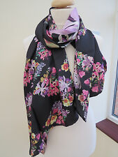 NEW!!!100% Silk Ted Baker Lost Gardens Long Silk Scarf Black - STUNNING!Perfect!