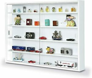 Modern Wall Display Cabinet Glass Laminated Models Collections Shelf Black White