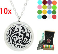 """Lot 10x Cloud Essential Oil Diffuser Locket Pendant Necklace 24"""" Pads+ Gift Box"""