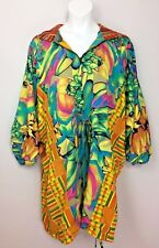 Women's Colorful Art Bali Sri Rahayu Reversible Hooded Light Jacket Boho