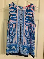 Lilly Pulitzer Womens Blue Pink Tropics Iona Top Shirt Blouse Tank Size M