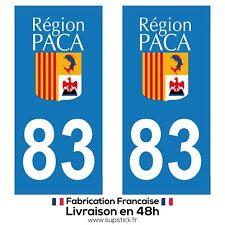 2 STICKERS AUTOCOLLANT PLAQUE IMMATRICULATION DEPT 83 Provence-Alpes-Côte d'Azur