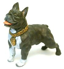 PEWTER HAND PAINTED  MINIATURE FIGURINE OF  FRENCH BULLDOG  DOG  STATUETTE