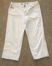 White House Black Market Cropped Jeans Blanc White Denim embroidered Capri SZ 6