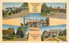 1940 VALDOSTA GA Pines Camp Cottages Trailer Court Gas pumps COOK postcard 588