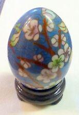 """Cloisonne Egg Stand Wood 3"""" Floral Bird Multi-Color Vintage Easter Spring Hand"""