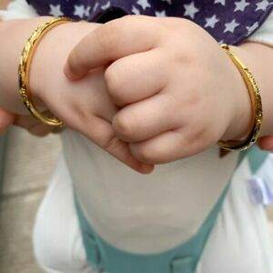 2pcs Lovely High Quality 24k Gold plated Baby Bangle Adjustable Child Bracelet