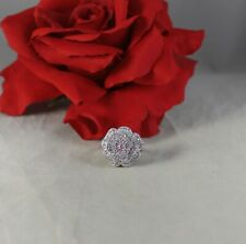 Sterling Silver Sparkling Pink White Flower Cocktail Ring Size 7 Cat Rescue