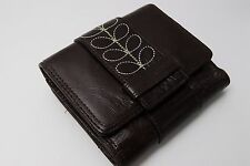 """NWT Orla Kiely ORP102 Wallet Purse Brown 70 """"Embroidery"""" 13A Cowhide Japan o8"""