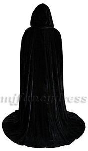 Adult Long Velvet Black Hooded Cape Deluxe Cloak Unisex Vampire Halloween Cape