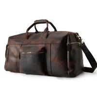 Vintage Men Leather Luggage Suitcases Duffle Gym Travel Overnight Messenger Bag