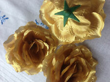 3 Large Artificial Simulation Silk Gold/Silver Camellia Rose Flower Head 10cm
