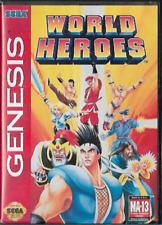 World Heroes Sega Genesis 1994 Cartridge and Case