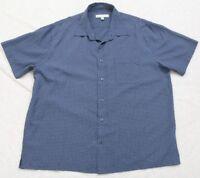 Pronto Uomo Dress Shirt Button Up Short Sleeve XXL Blue Men's Pocket Top 2XL