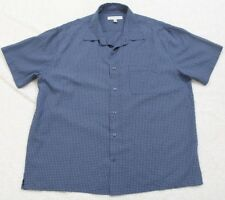 Pronto Uomo Dress Shirt Button Up Short Sleeve XXL Blue Men's Pocket Top 2XL
