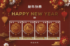 Guyana Year of Ox Stamps 2021 MNH Happy Chinese Lunar New Year 4v M/S