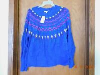 Women's Time and Tru Blue Sweater------Size L ( 12-14 )