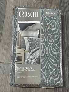 "Croscill Gabrijel Euro Pillow Sham Slate Blue 26""x 26"" Square Euro"