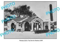 OLD 6 x 4 PHOTO OF MACKAY CITY SERVICE STATION QLD c1939 TEXACO PLUME CASTROL