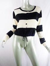 Lilith France Cream & Black Wide Striped Cardigan Sweater Sz S 38
