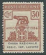 1924 REGNO PARASTATALI CASSA NAZ LAVORO 30 CENT VARIETà R ROTTA MNH ** - M45-7