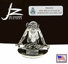 Jac Zagoory #PH101D / Hands Down - Write No Evil Pewter Pen Holder