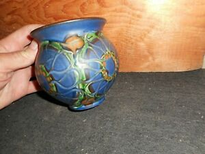 Stunning antique signed Art Nouveau art pottery vase; signed and stamped