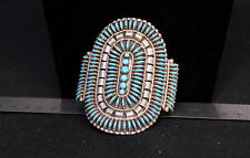 "Zuni Needlepoint Turquouse Bracelet by ""N. Harry"" 5"" + 1 1/4"" gap"