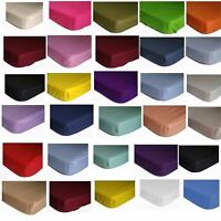 Percale Elastic Fitted Bed Sheets & Pillowcases 18 Colours Poly Cotton 4 sizes