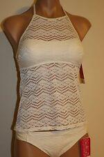 NWT Hula Honey Juniors Swimsuit Bikini Tankini 2pc Set Crochet Cream Size S