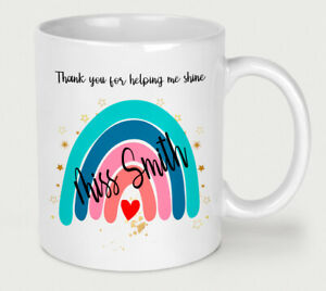 Personalised Thank You Teacher Mug End of Term Cup Present Rainbow Free Gift Box