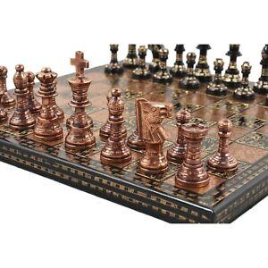 "12"" Brass Metal Luxury Chess Pieces & Board Set- French Staunton -Copper & Black"