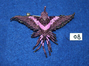 "Hummingbird Barrette 4"" Beaded French Clip closure Fair trade bead work #08"