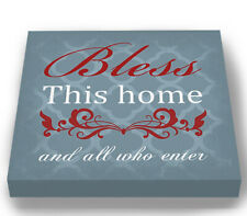 Bless This Home & All Who Enter Quote Wedding Stretched Canvas Wall Art Decor