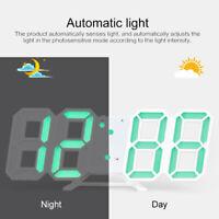 Modern 3D LED Wall Clock Digital Alarm Clock Snooze 12/24 Hour Display HOT do1