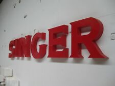 IMPRESSIVE BIG PLASTIC SINGER SEWING MACHINE  SIGNAGE WITH BACK MOUNTING