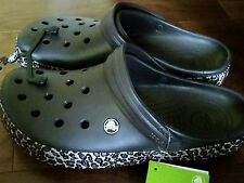 NEW Crocs Espresso & Gold Animal Print Crocband Clog Sz Women's 12 NWT FREE SHIP
