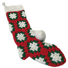 """Vintage Crocheted Christmas Stocking Granny Square With Pompom Handmade Knit 18"""""""