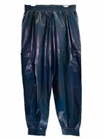 Victorias Secret Women's L Metallic Blue Iridescent Sport Jogger Pants NWT $64