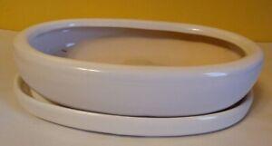 """Lovely Bonsai Pot & Saucer 15"""" long NEW, White"""