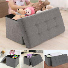 GREY FOLDING STORAGE LINEN OTTOMAN POUFFE SEAT FOOT STOOL STORAGE BOX MODERN