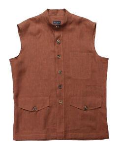 NWT GAIOLA DE PETRILLO sahariana SHIRT sleeveless linen rust luxury Italy 48 S