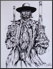 """THE JOSEY WALES II""  OUTLAW""  Western gunfighter portrait art print, drawing."