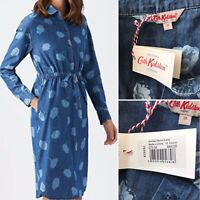 Cath Kidston Blue Denim Floral Shirt Tunic Dress Pockets Uk 18 NEW Cotton Rrp£70