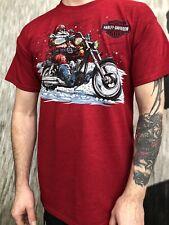Harley-Davidson Men's Red Christmas Santa Motorcycle T-Shirt Lancashire England